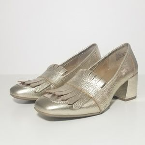 Kenneth Cole Michelle Gold Block Heel Loafers 7 M